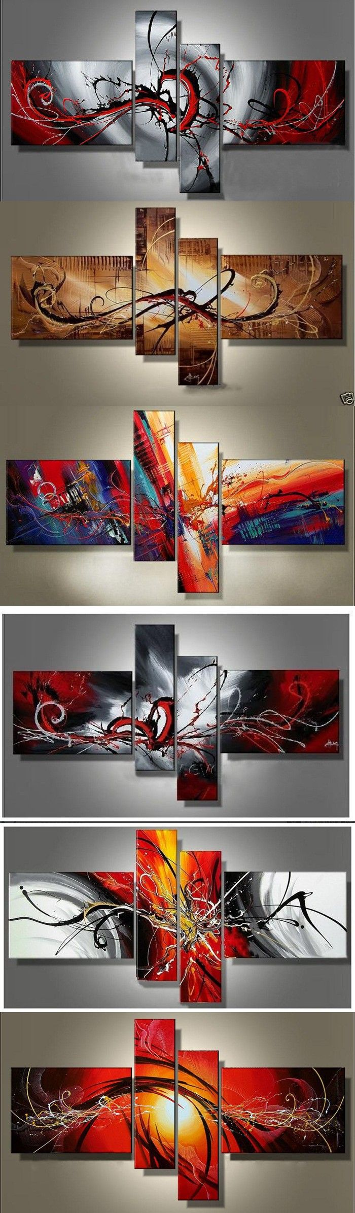 Oil paintings on canvas red black white home decoration modern
