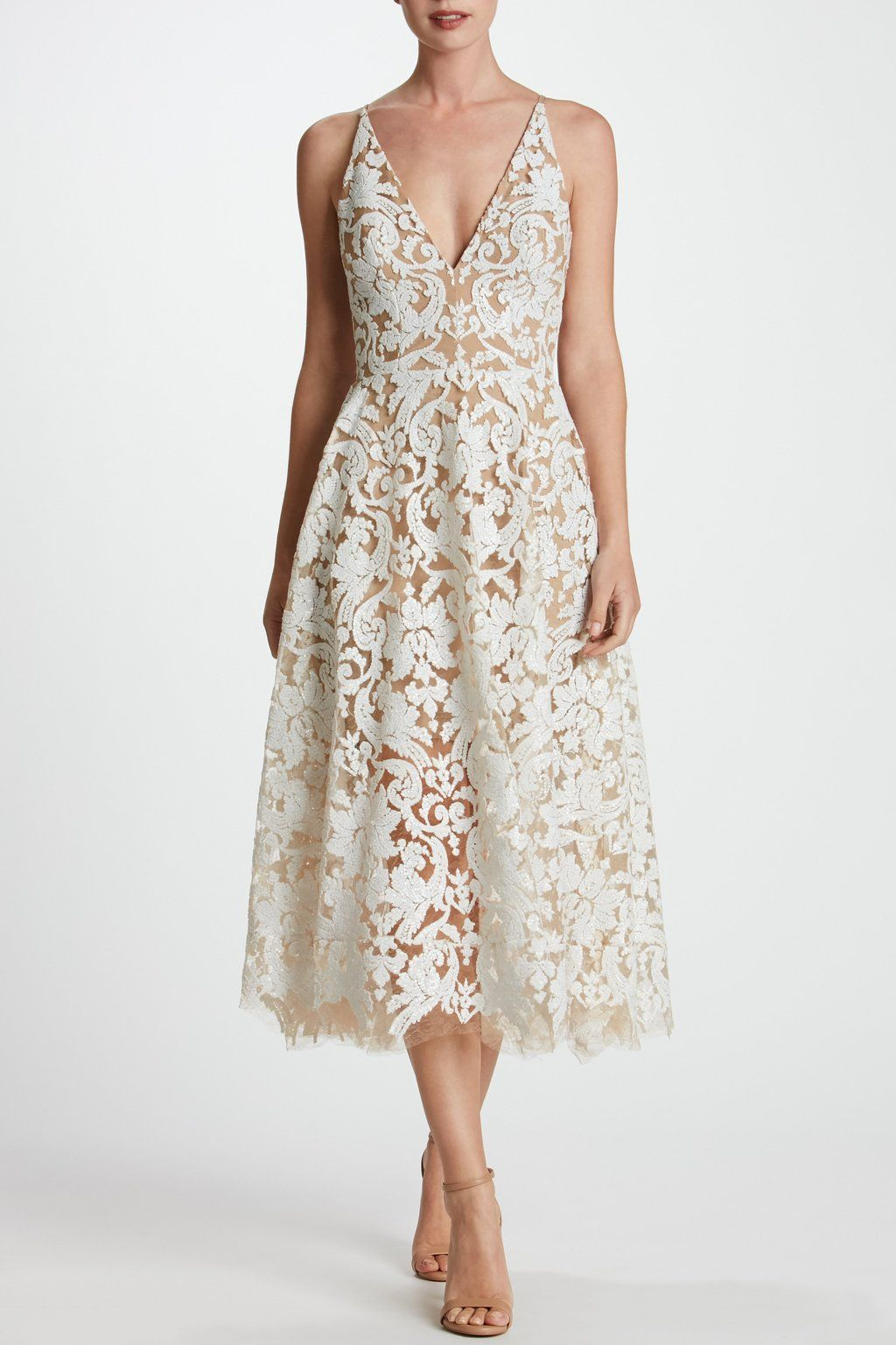 e6ffa79e9f6df $269 Blair Sequin Lace Fit and Flare Midi Dress (White) - Gorgeous pattern  w/ sequins