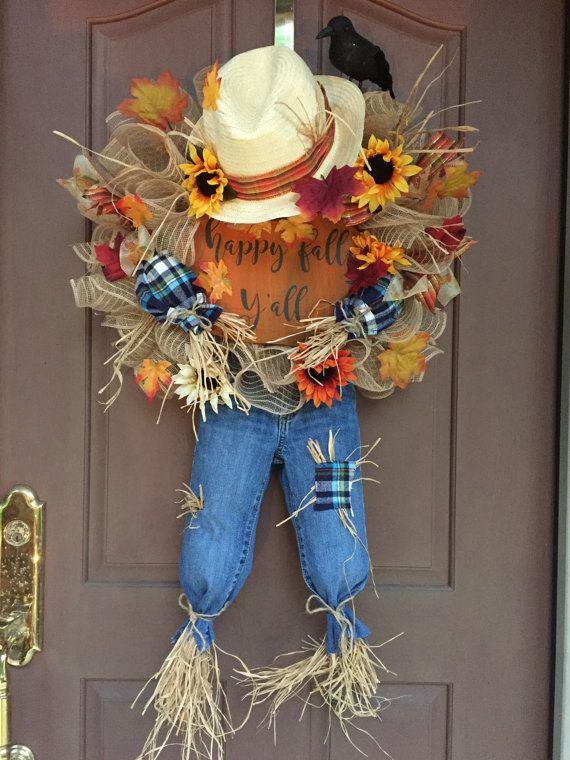 Items similar to Happy Fall Scarecrow Wreath on Etsy #scarecrowwreath