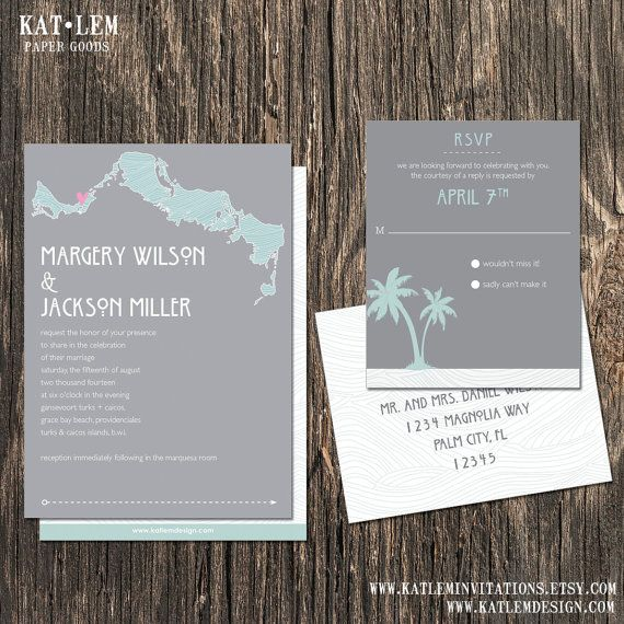 Destination Wedding Etiquette Gifts: Turks And Caicos Wedding Invitation Set