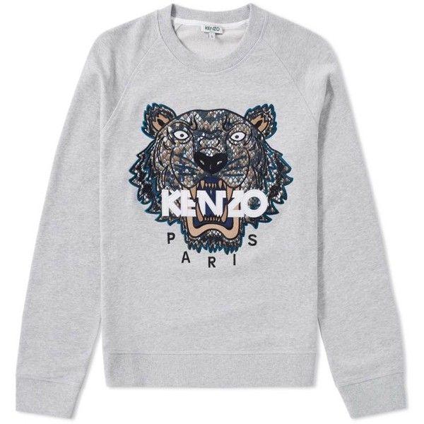 38f6d747e ($250) ❤ liked on Polyvore featuring tops, hoodies, sweatshirts, gray  sweatshirt, crew neck tops, crew-neck sweatshirts, grey crew sweatshirt and  kenzo ...