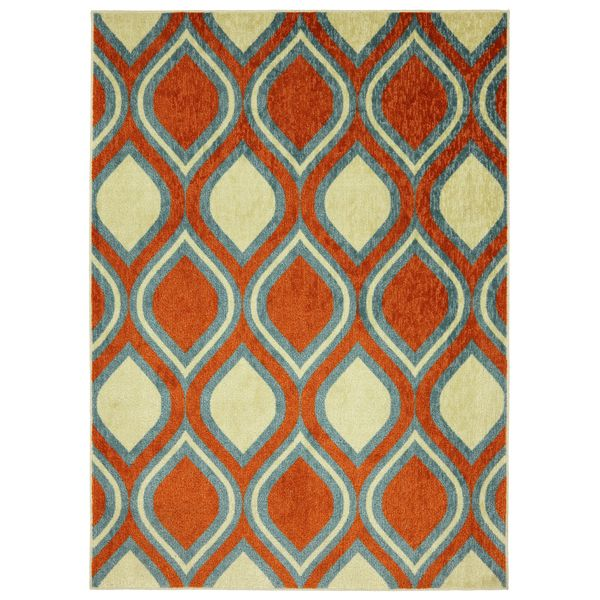Modern Ogee Orange Rug (8' x 10') - Overstock™ Shopping - Great Deals on 7x9 - 10x14 Rugs