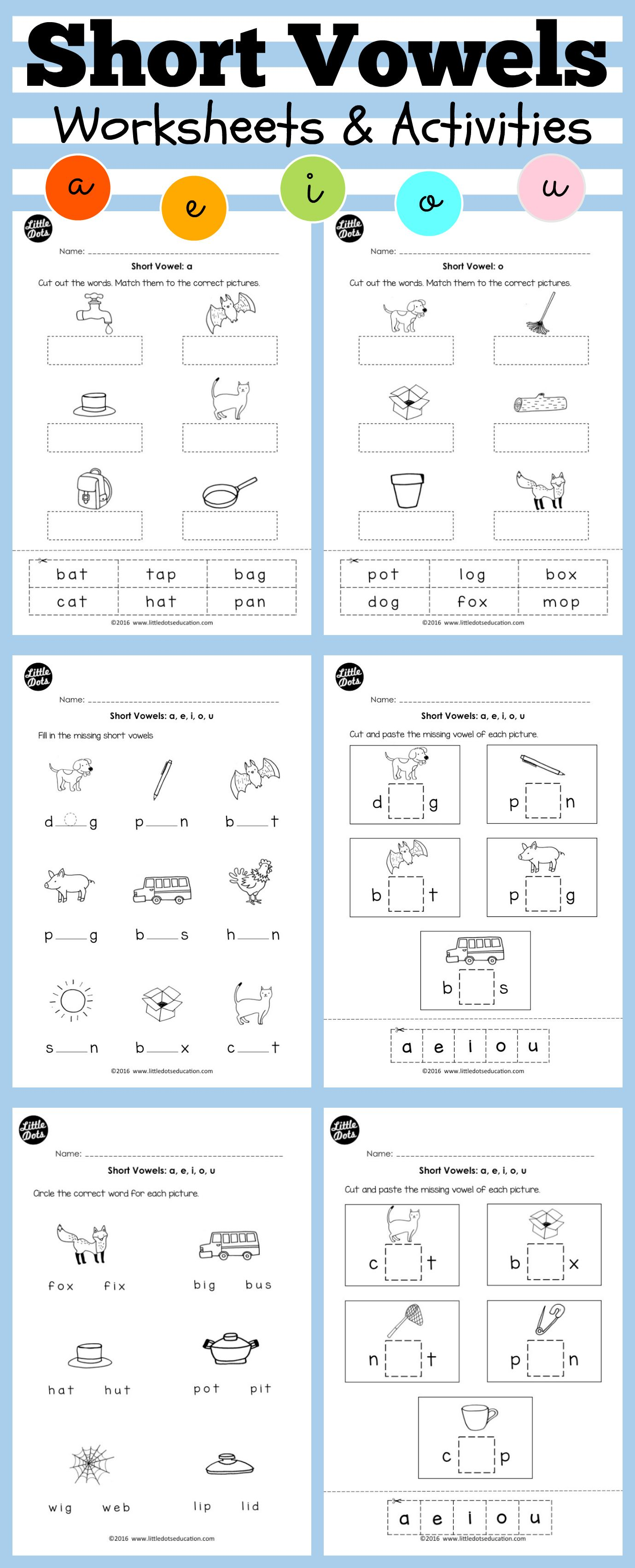 Short Vowels Worksheets And Activities For Preschool Or Kindergarten Class Practice To Hear The