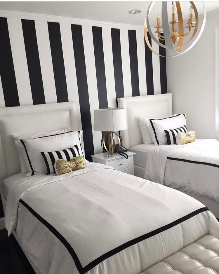 Black And White Striped Accent Wall Black White And Gold Bedroom Striped Room White Wall Bedroom