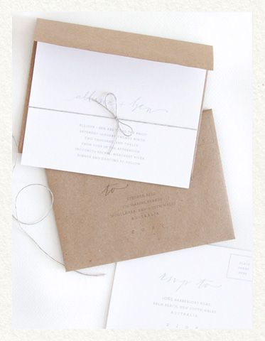Craft paper and twine wedding invitation