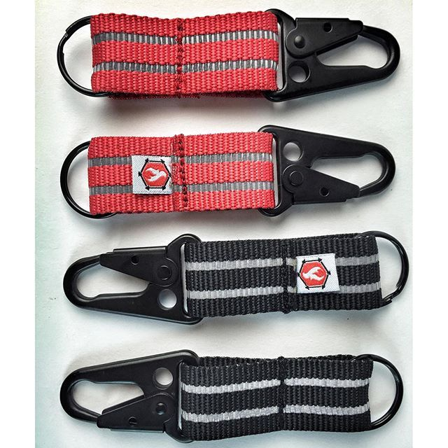 "1"" reflective webbing with black HK clip key hooks. Coming within the next couple weeks! These things are awesome #hkclip #recycledfirefighter"