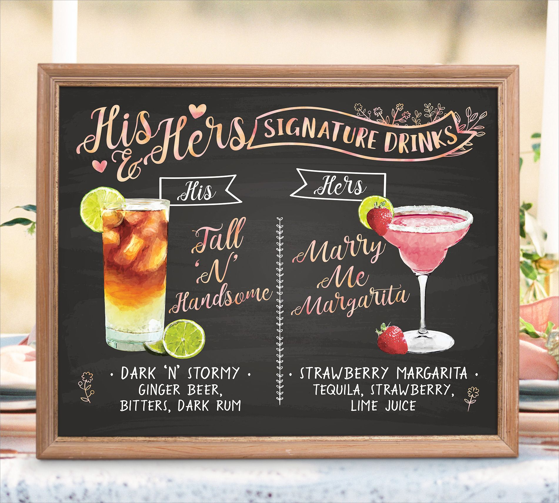 Digital Printable Wedding Bar Menu Sign, His and Hers