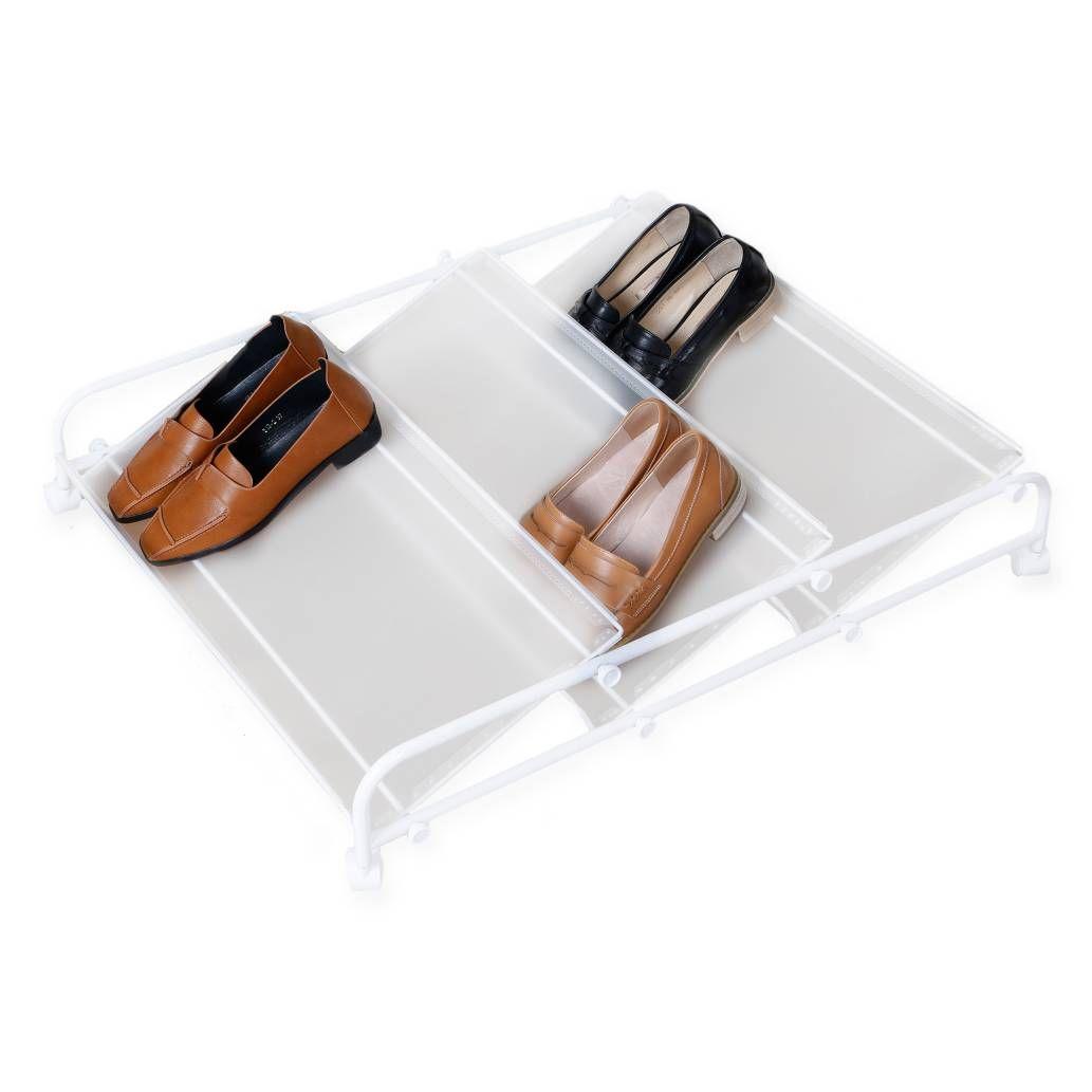 3shelf underbed rolling shoe rack in white
