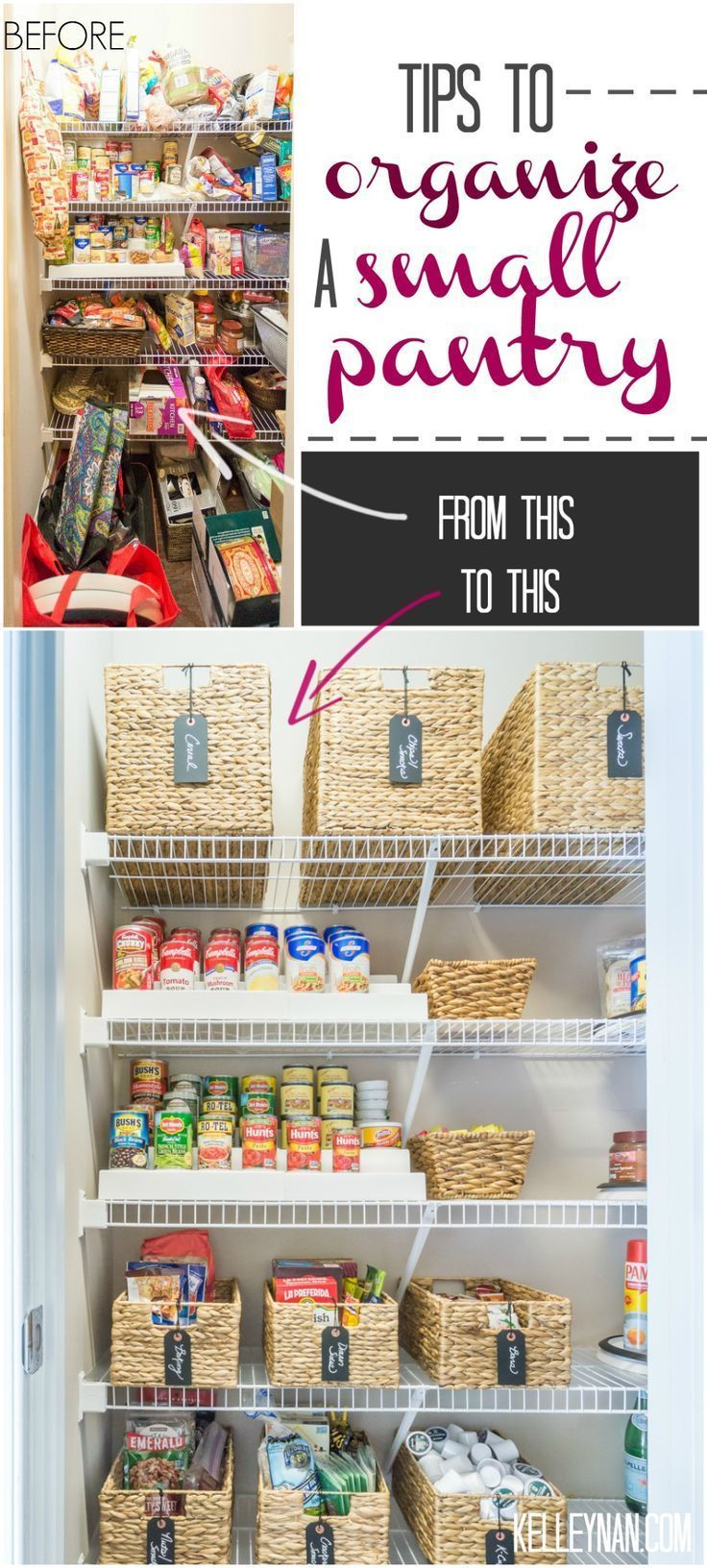 Nine Ideas to Organize a Small Pantry with Wire Shelving #pantry #kitchenorganization #pantryorganization #organizedpantry #organizationideas #organizedkitchen #baskets #pantryshelving