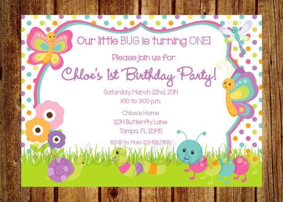 Girl Bug Birthday Invitation for Girls by InvitesByChristie – Insect Birthday Invitations