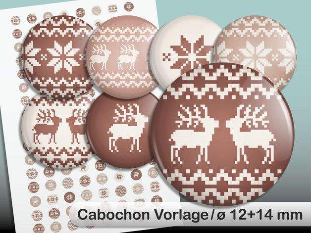"""Digital Collage Sheet for Button or Cabochon.  128 printable images """"Norwegian Pattern"""" on a DIN A4-Sheet.  Size 12 and 14 mm."""