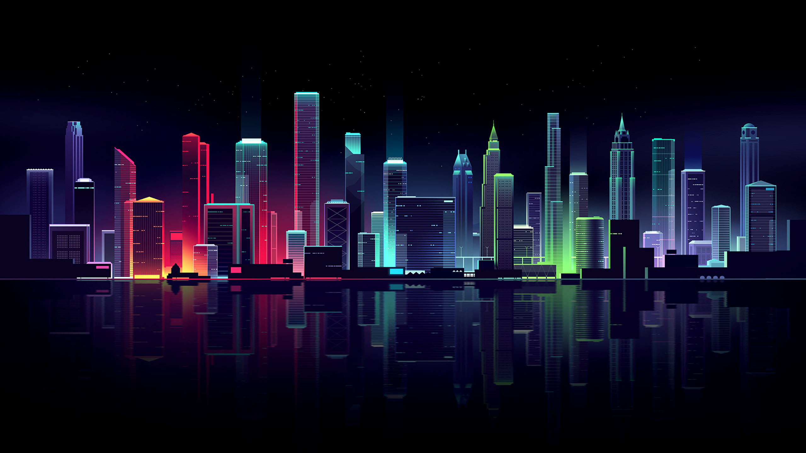 Neon City Illustration By Romain Trystram 2560x1440