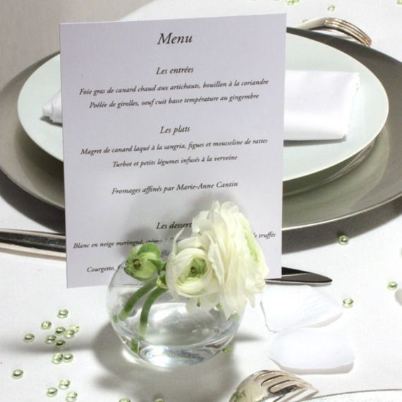 vase boule en verre porte menu table pinterest mariage and reception. Black Bedroom Furniture Sets. Home Design Ideas