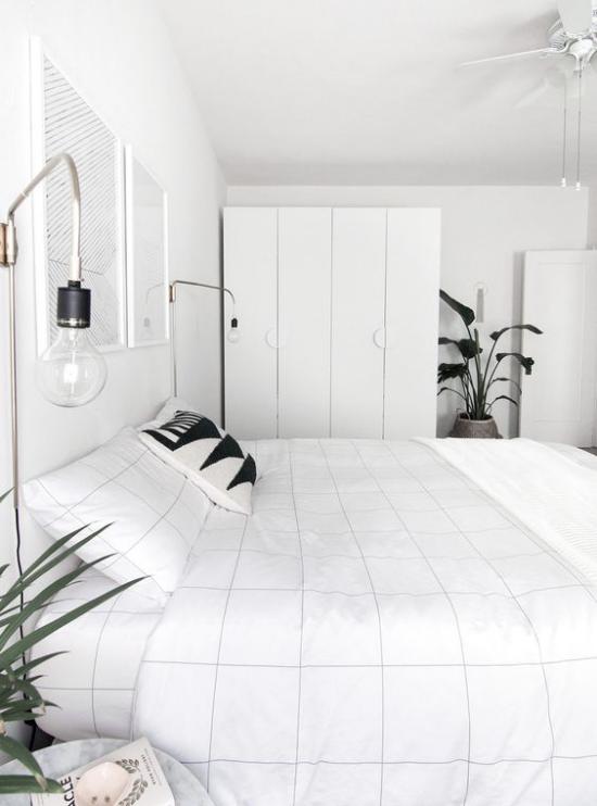 Schlafzimmer Ideen im Scandi Style Akzente in Schwarz