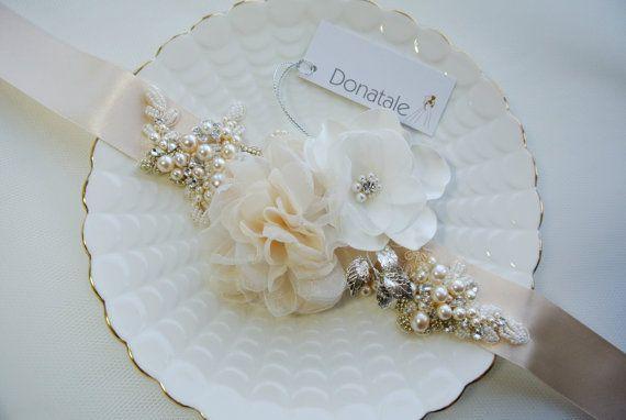 Rustic Champagne wedding dress belt,Bridal sash, Bridal belt ...