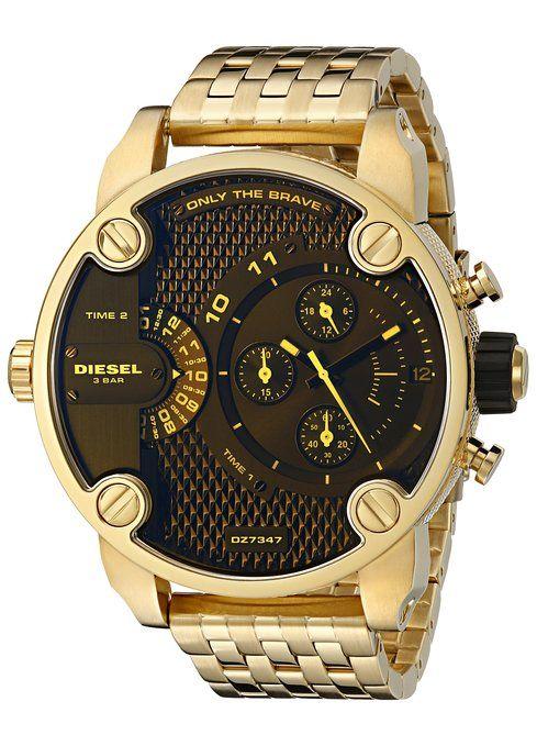 acad46b4f5e5 Dorado diésel dz7347 52 mm brazalete de acero y carcasa para hombre reloj  Mineral