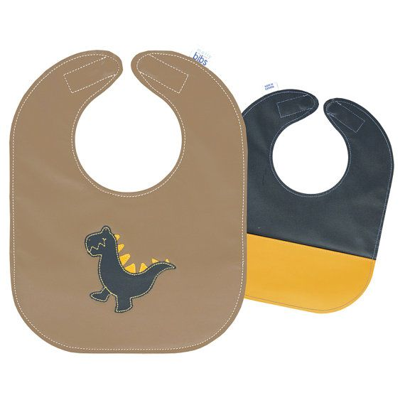 Mally Bibs, the Original Leather Baby Bib, Reversible with Food Catch Pocket on One Side, Dinosaur T-Rex Design - baby size