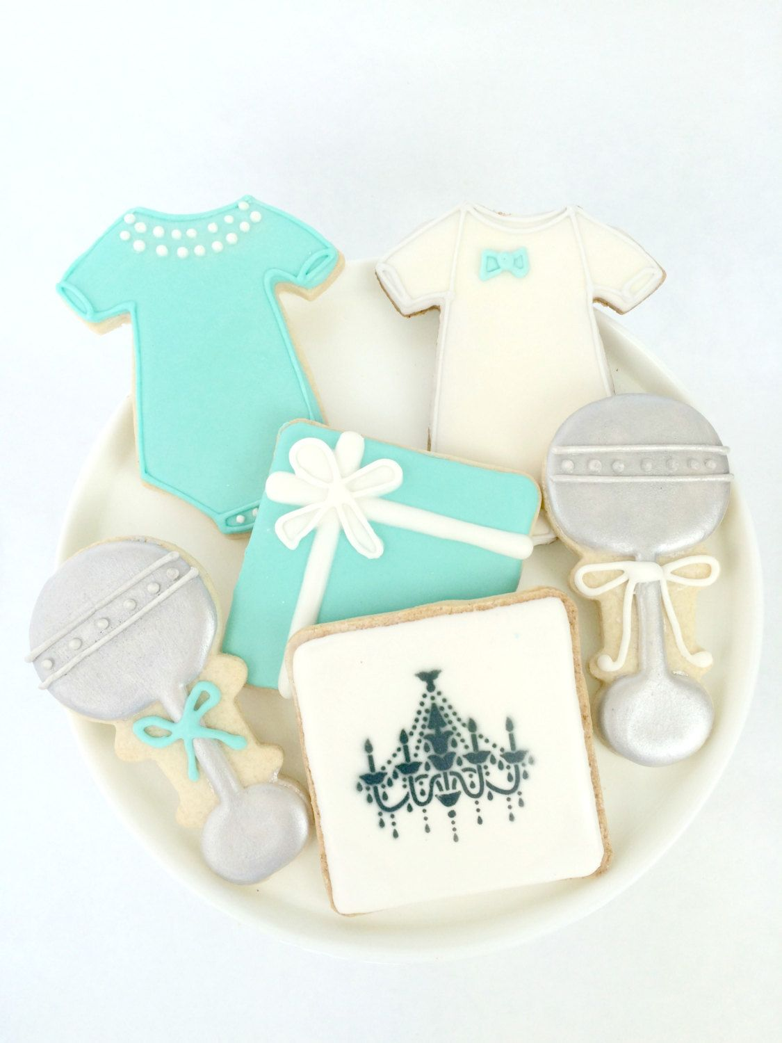 Tiffany Baby and Co. Inspired Baby Shower Cookies | Baby shower ...