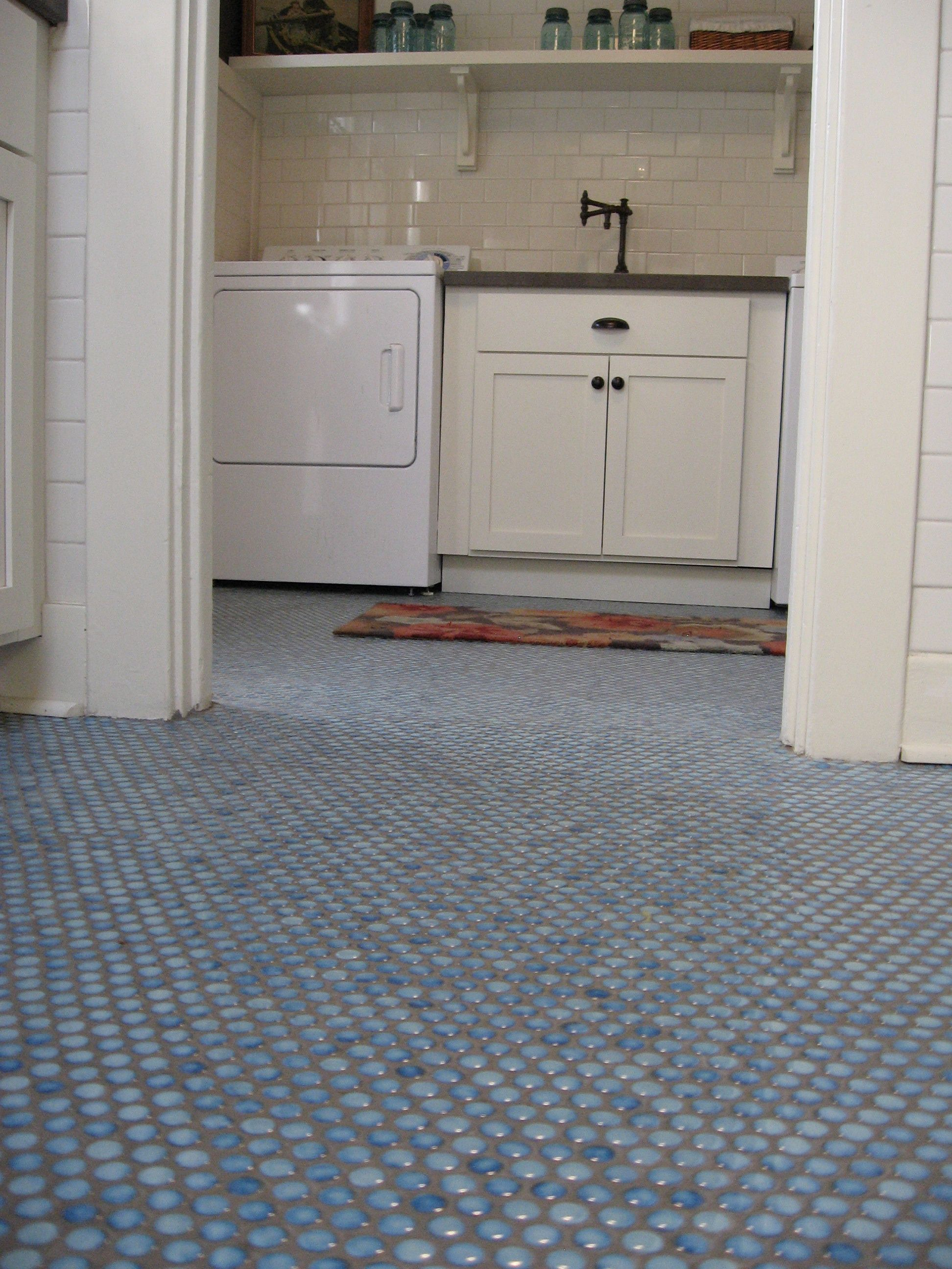 Marine Blue Penny Rounds Natural Grey Grout Color Kitchen