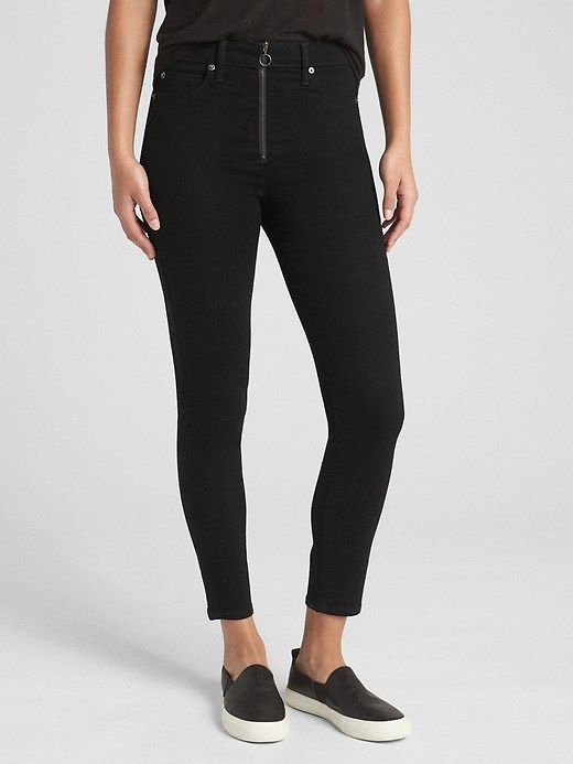 066fd68359305 Gap Womens High Rise True Skinny Ankle Jeans With O-Ring Zip (Black) True  Black