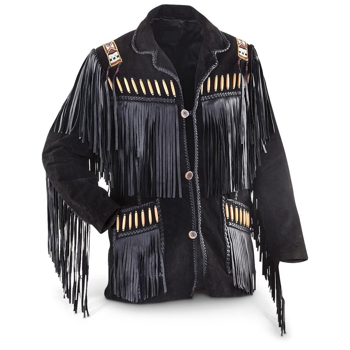 LEATHERAY Mens Fashion Western Genuine Cowboy Jacket Native American Wears Fringed /& Beaded Jacket Leather Brown