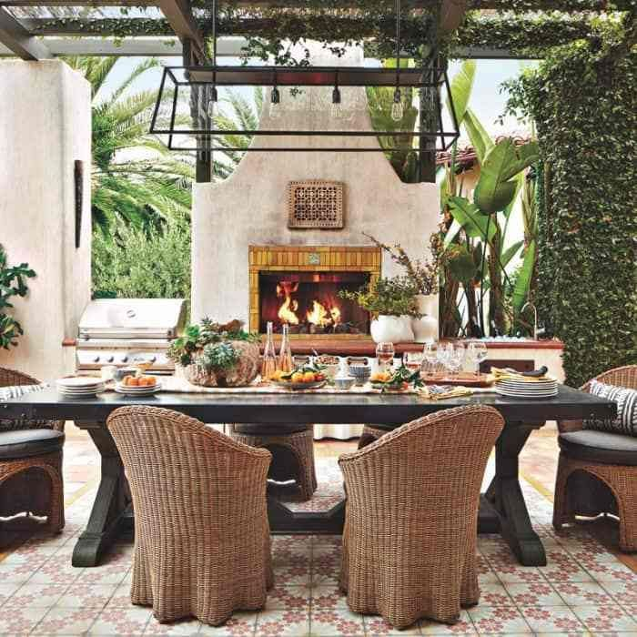 The Spanish Colonial Redefined Rough Luxe Lifestyle #spanishcolonial #spanishrevival #outdoorrooms #spanishstyle #outdoorfireplace
