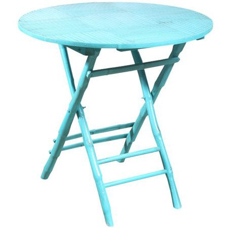 Antiqued Turquoise Bamboo Accent Table