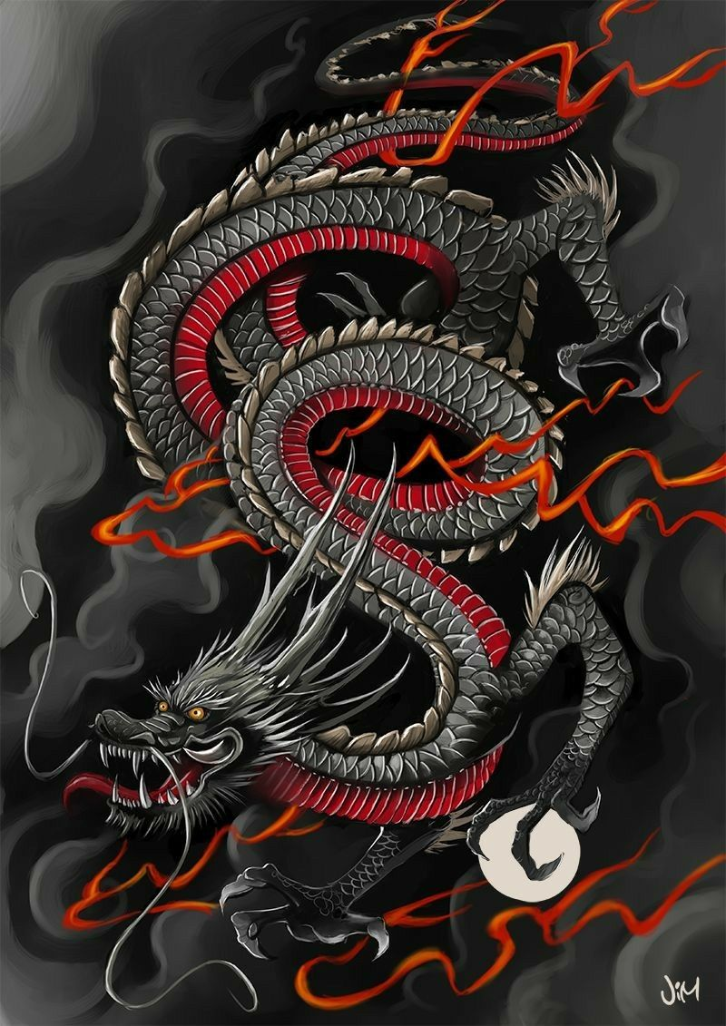 Japanese Dragon Tattoo In Black Grey And Red Ilustracao Do Dragao Tatuagem De Dragao Japones Tatuagem Japonesas De Dragao