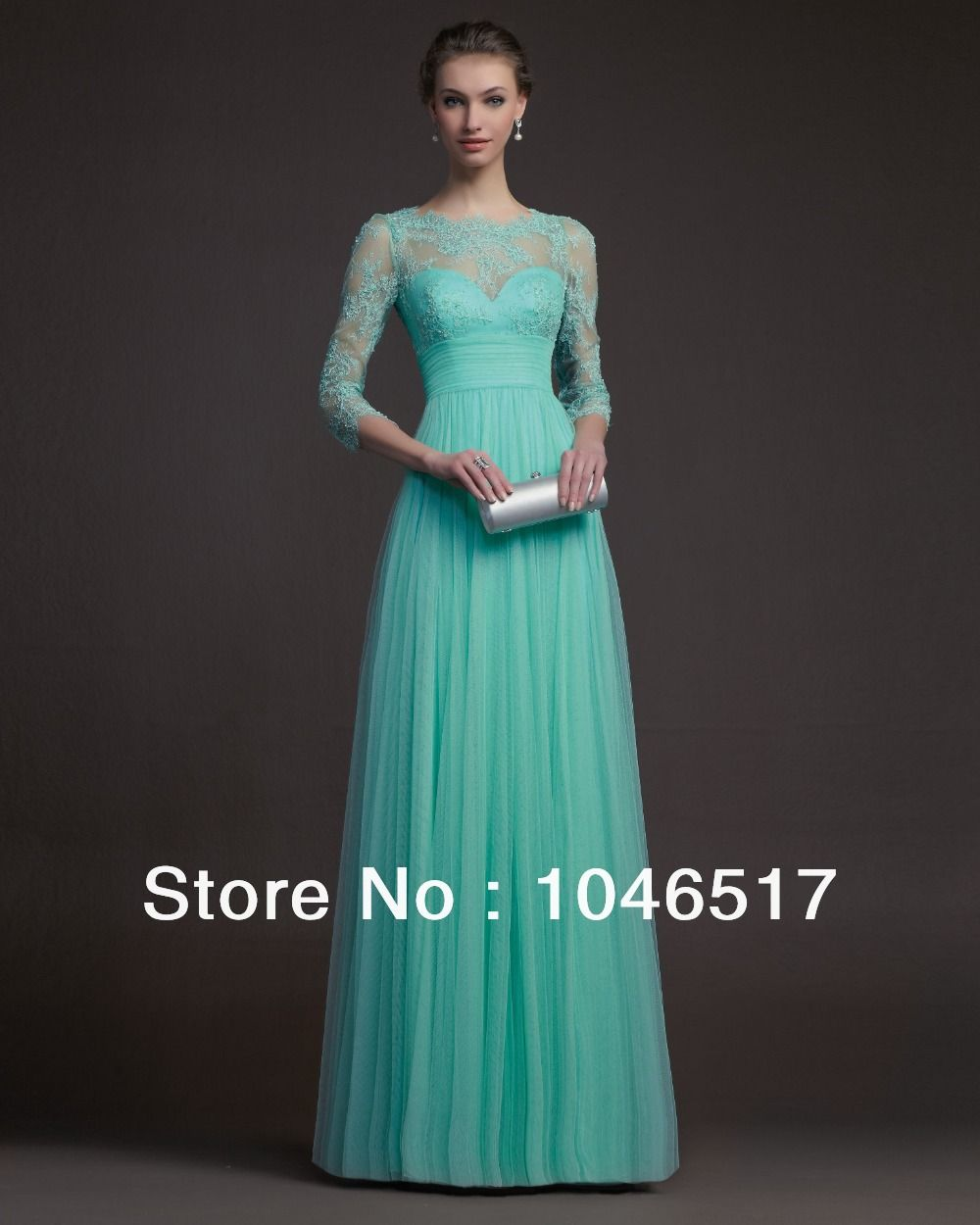 Free shipping turquoise tulle long elegant lace evening dress with