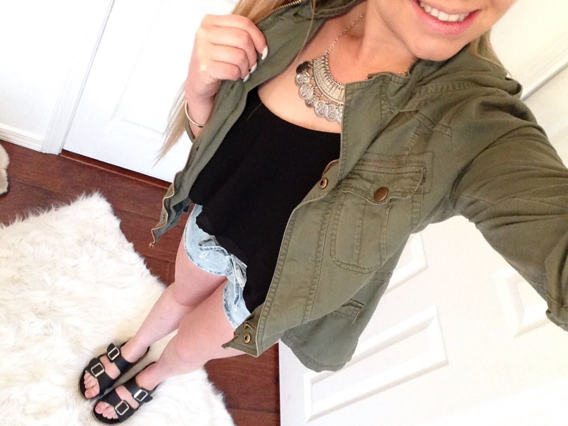 Here's a little outfit of the day! Utility Jacket: Tilly's Tank: Marshall's Shorts: TJ Maxx Sandals: Charlotte Russe
