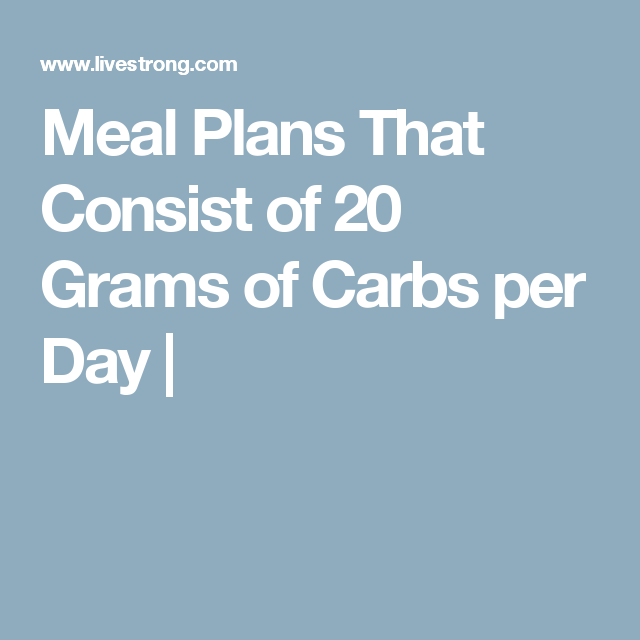 Meal Plans That Consist of 20 Grams of Carbs per Day