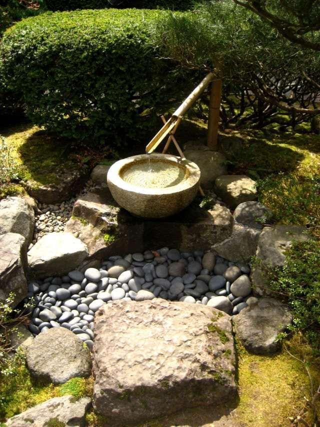 Garten Brunnen Stein Schale Bambus Kies Ideen