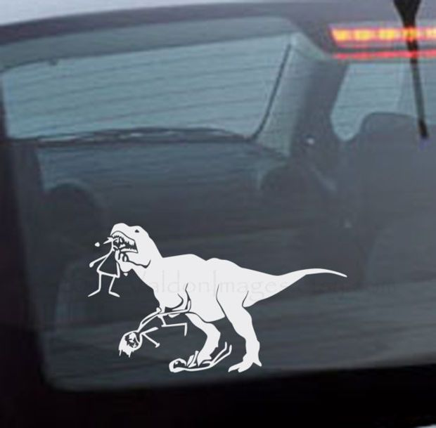 T rex eating stick figure family graphic car decal