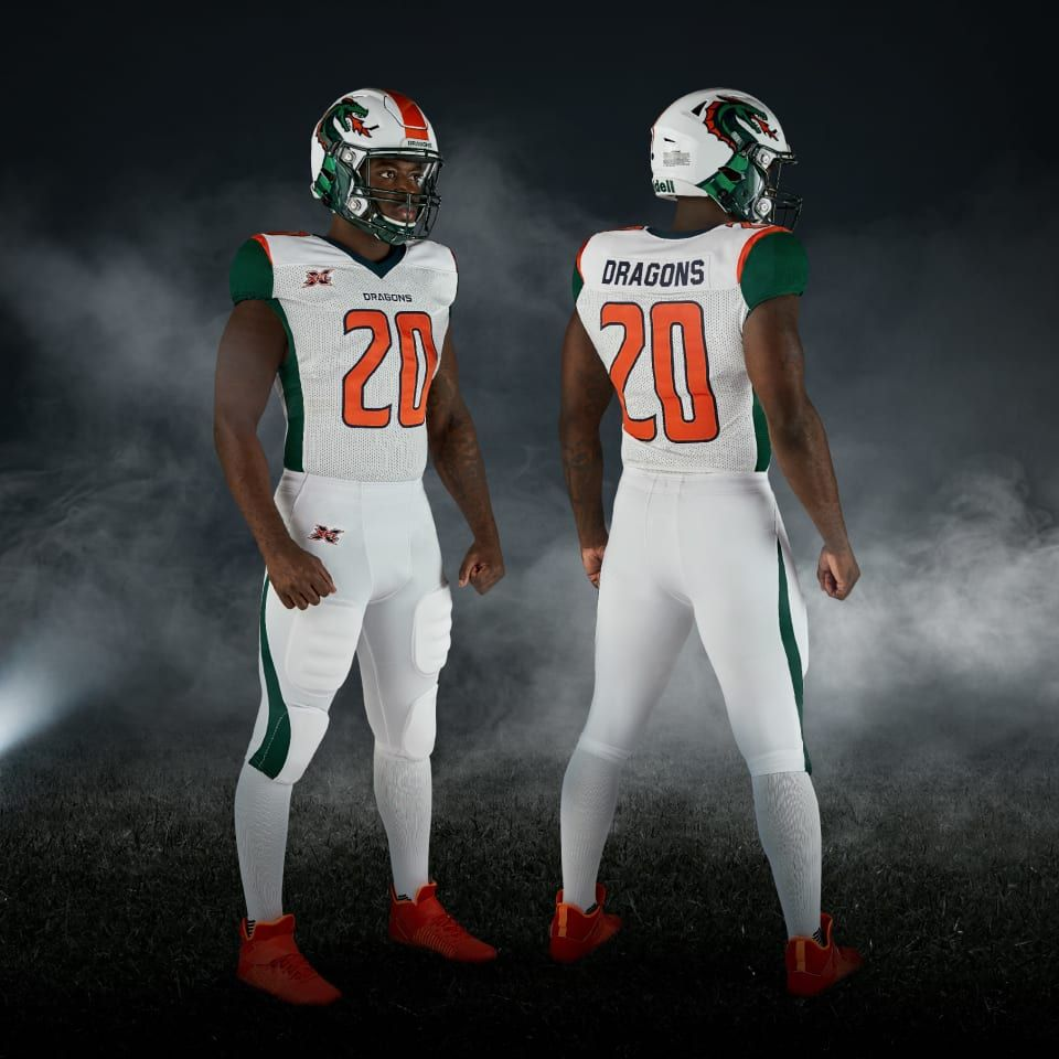 Xfl 2020 Seattle Dragons Away Uniforms Football Logo Design College Football Uniforms Xfl Teams