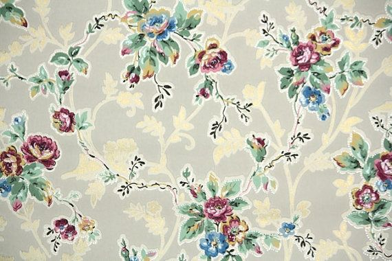 1920s vintage wallpaper by the yard antique floral wallpaper with burgundy and blue roses on