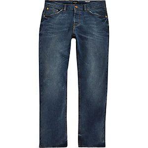 Mens Dark Blue rinse Dylan slim fit jeans River Island y9wZHL24