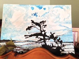 """One of my first """"pieces"""" painted in High School - we were asked to re-create a Group of Seven print."""