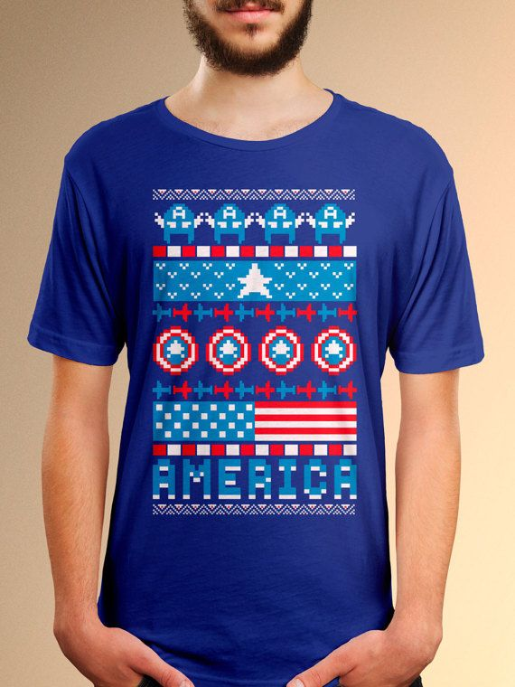 Captain America Ugly Christmas Sweater Style By Sortastupid Disney