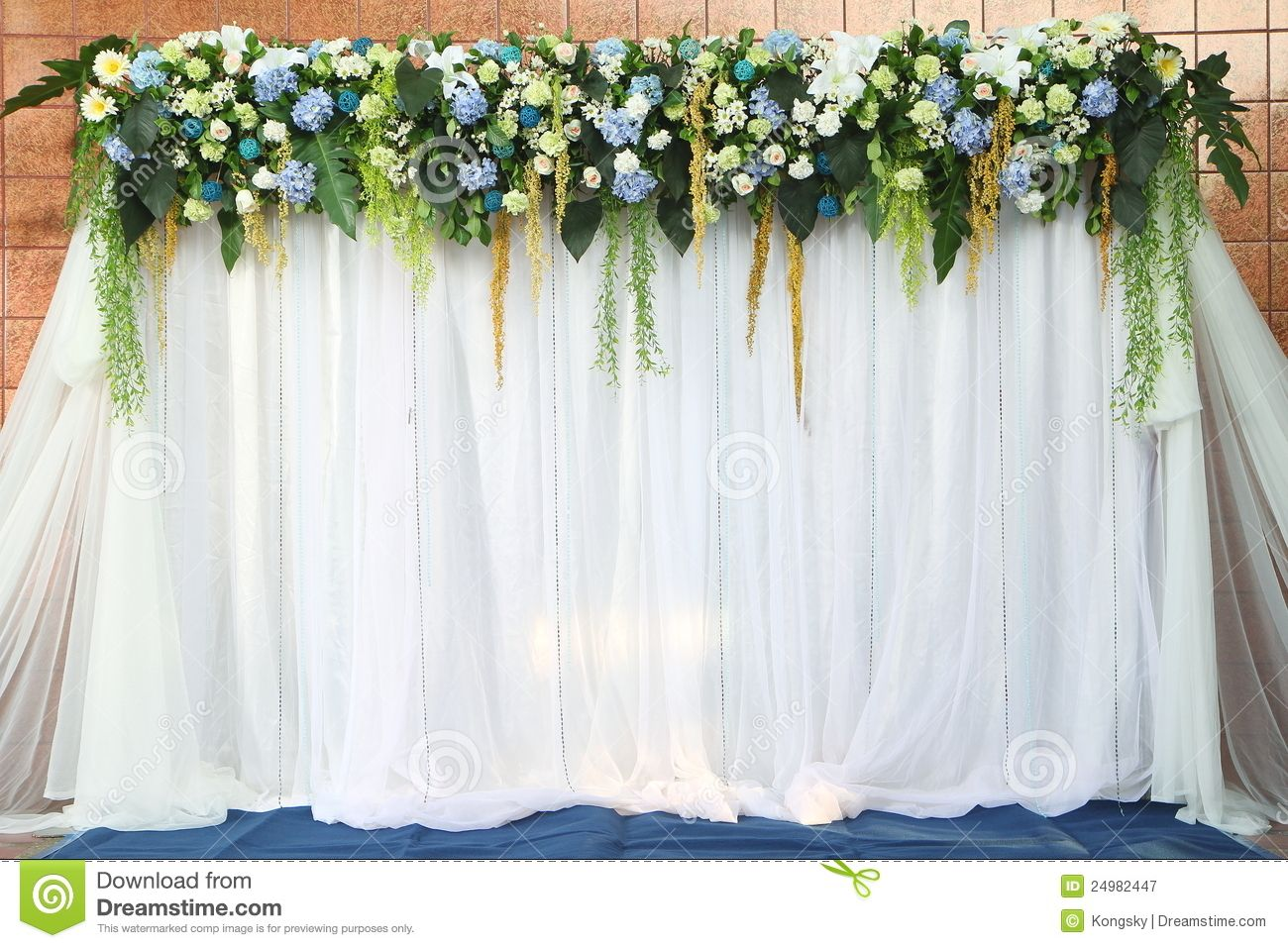 Photo About White And Green Backdrop Flowers Over Fabric Ready For Wedding Ceremony