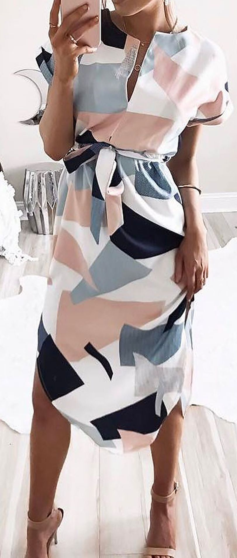 Only $26.99! Cute Strappy Geometric Multi Color Dress.