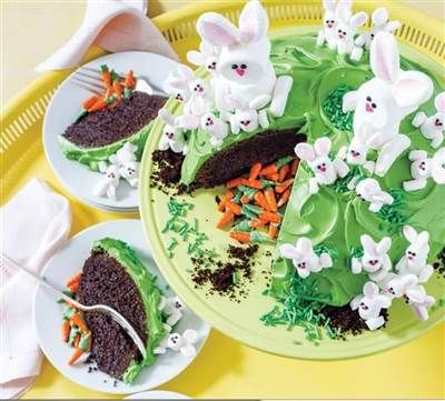 Bunny Hill Cake (Surprise Inside!) - Cake decorating, Easter cakes, Amazing cakes, Cake, Baking, New cake -
