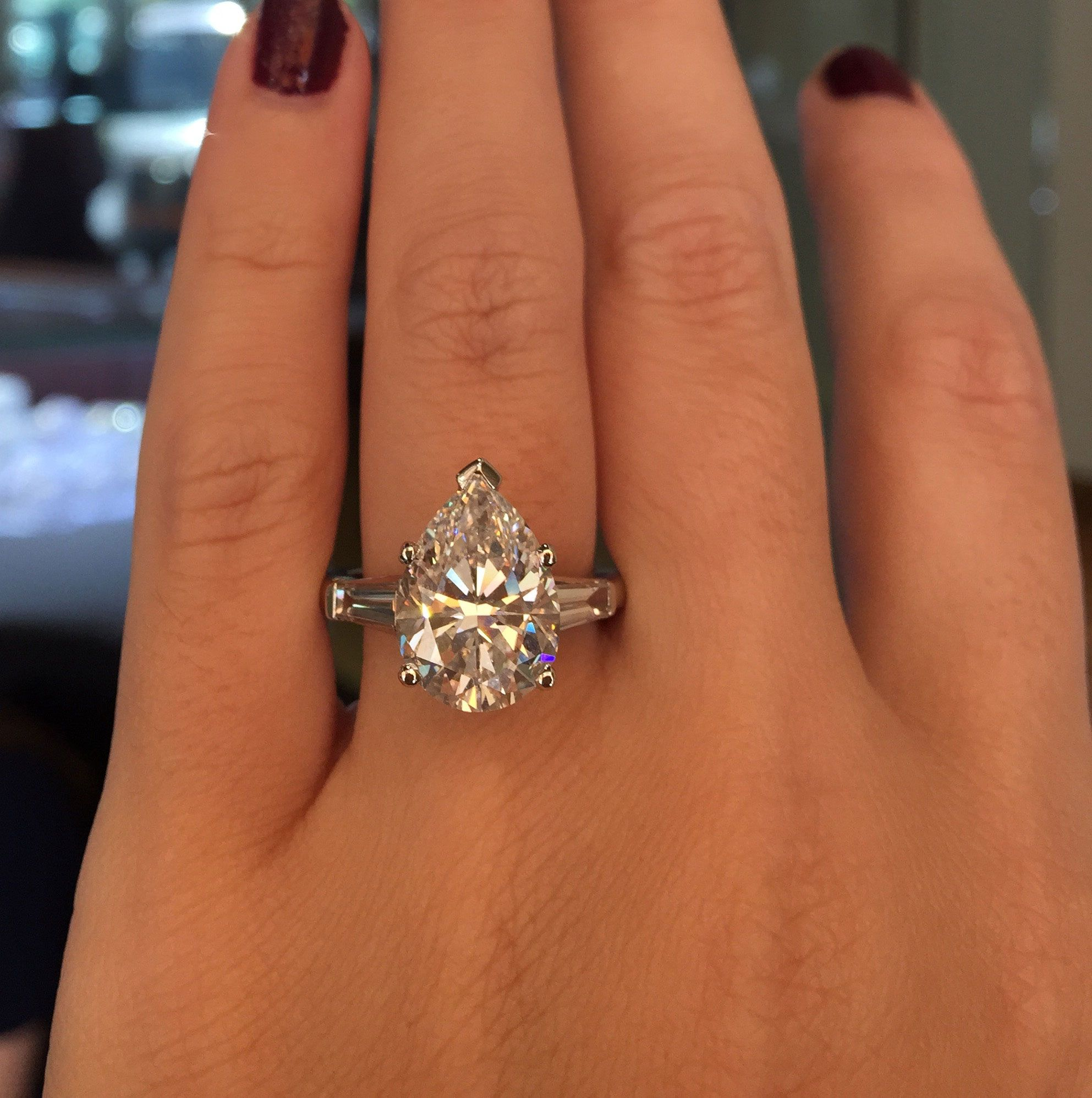 Theengagementringguru: This Platinum Pear Diamond Engagement Ring Is  Flawless!