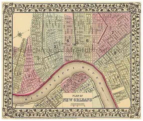 Antique New Orleans Map.Antique Colored Map New Orleans French Quarter Mississippi River