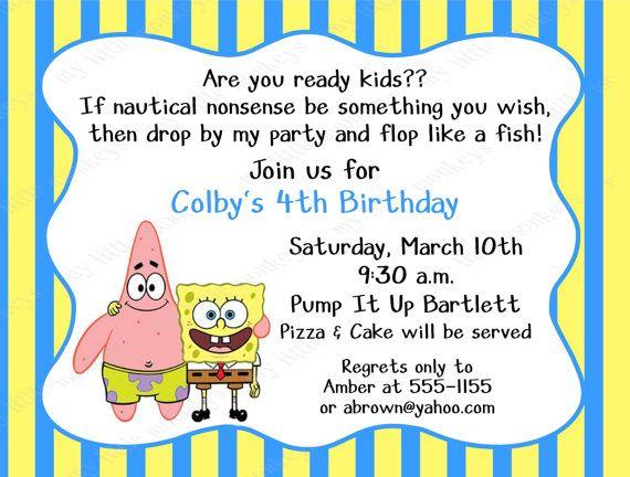 10 Spongebob Birthday Invitations With Envelopes By