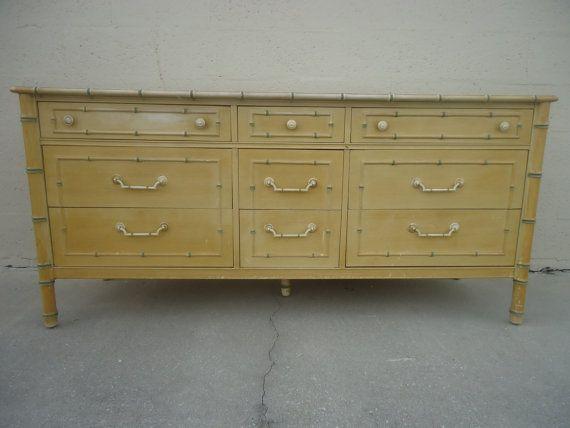 Thomasville Allegro Faux Bamboo Dresser Credenza Buffet Server Hollywood  Regency Palm Beach $299