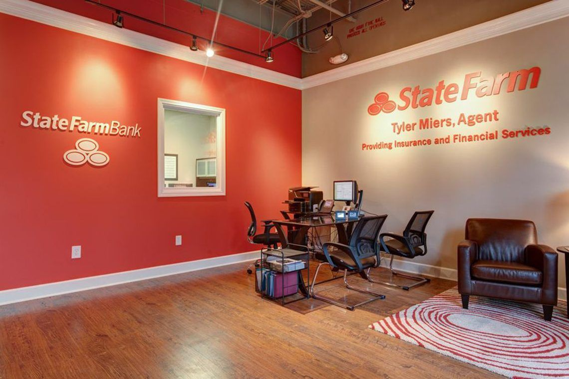 Image result for state farm with espresso desks state