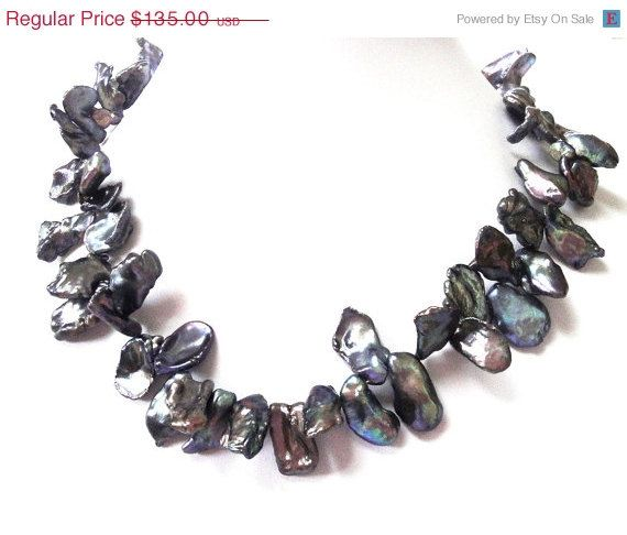 Mothers Day Sale Peacock Keishi Pearl Necklace by BijiJewelry