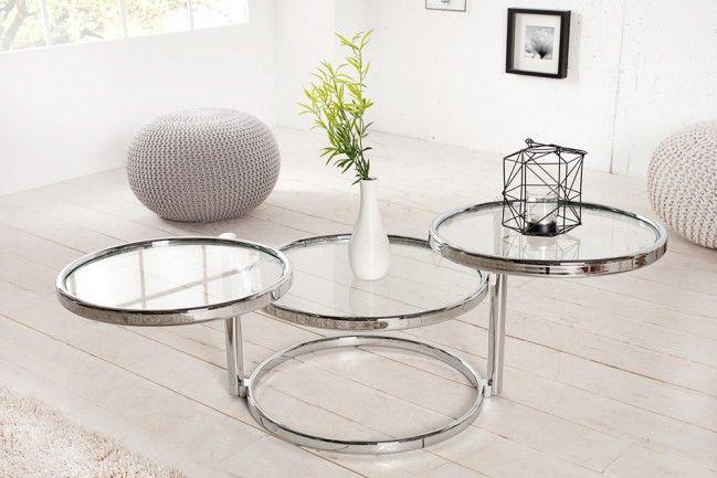 Design Couchtisch Original ART DECO III mit 3 Ebenen chrom - designer couchtisch wohnzimmertisch