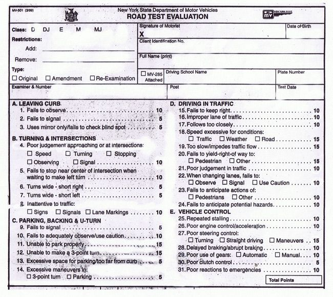 New York State Road Test Evaluation Form Road Test Learners