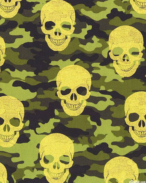 Camouflage Skulls - Midas Under Cover - Olive Green/Gold